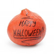 Happy Halloween inscription on the pumpkin — Stockfoto
