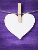 One paper hearts hanging on rope — Stock Photo