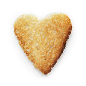 Toasted slice of white bread heart shape — Stock Photo