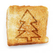 Toasted slice of white bread with christmas tree — Stock Photo