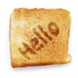 Slice of bread says hello — Stock Photo
