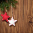 Vintage christmas decorative stars hanging — Stock fotografie