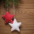Vintage christmas decorative stars hanging — Stockfoto