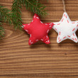 Vintage christmas decorative stars hanging — Stock Photo
