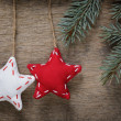 Stock Photo: Vintage christmas decorative stars hanging