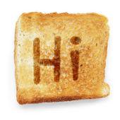 Slice of bread says hi — Stock Photo