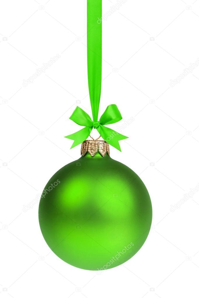simple simple boule de no l vert suspendu sur ruban photographie goodween 33530115. Black Bedroom Furniture Sets. Home Design Ideas