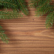 Green spruce twig on wooden plank — Stock Photo #34156781