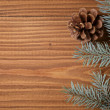 Stock Photo: Blue spruce twig on wooden plank