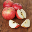 Gala apples on wood table — Stock Photo