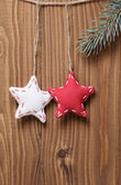 Vintage christmas decorative stars hanging — Stock Photo