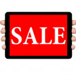 Stock Photo: Female teen hands showing tablet pc with sale offer