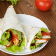 Wheat tortilla with chicken and vegetables — Stock Photo #34952467