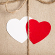 Two paper hearts together — Foto Stock