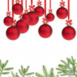 Red christmas balls with twig — Stock Photo