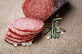 Italian salami sausage slices with rosemary and sea salt — Stock Photo