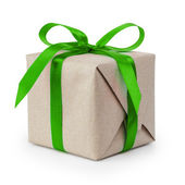 Gift box from craft paper with ribbon — Stock Photo