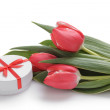 Composition with tulips and gift box — Stock Photo #36776721