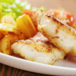 Roasted codfish fillet with vegetables — Stock Photo #39381153