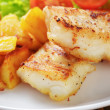 Roasted codfish fillet with vegetables — Stock Photo #39854097