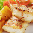 Roasted codfish fillet with vegetables — Stock Photo #39854099