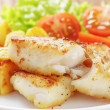 Roasted codfish fillet with vegetables — Stock Photo #39854147