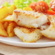Roasted codfish fillet with vegetables — Stock Photo #39854153