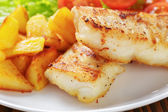 Roasted codfish fillet with vegetables — Stock Photo