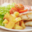 Roasted codfish fillet with vegetables — Stock Photo #40800755