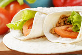 Burritos with beef tomato and salad leaf — Stock Photo