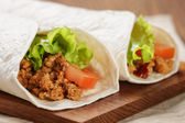 Burritos with beef tomato and salad leaf — Foto de Stock