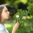 Teenage girl blowing dandelion — Stock Photo #41304431