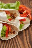 Burrito with meat and ingredients — Zdjęcie stockowe