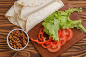 ингредиенты для мексиканской кухни taco или буррито — Стоковое фото
