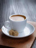 Classic double espresso on wood table — Stok fotoğraf