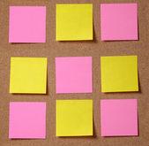 Sticky notes on cork board — Stock Photo