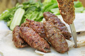 Traditional shish kebab from lamb meat — Stock Photo