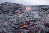 Basaltic lava flow solidifying slowly — Stock Photo