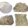 Limestone collage (chalk, tufa, fossiliferous limestone, grainst — Stock Photo