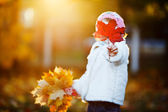 Small girl hiding her face with maple leaf — Stock Photo