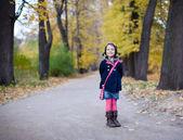 Chica adorable niño en edad preescolar en el hermoso parque de otoño — Foto de Stock