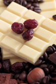 White chocolate bar with cranberries — Stock Photo