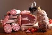 Italian cold cuts on the table — Stock Photo