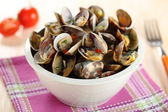 Clams vongole salad with tomato sauce — Stock Photo