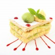 Sweet millefeuille with cream and kiwi on white background — Stock Photo #25701605
