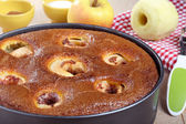 Dessert apple cake handmade in aluminum pan — Stock Photo