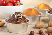 Muffin handmade with chocolate in aluminum cup — Stock Photo