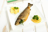 Fried fish on white ceramic plate — Stock Photo