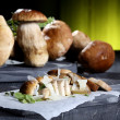 Mushroom salad boletus with parmesan — Stock Photo