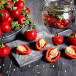 Red hot chili pepper gray background — Stock Photo